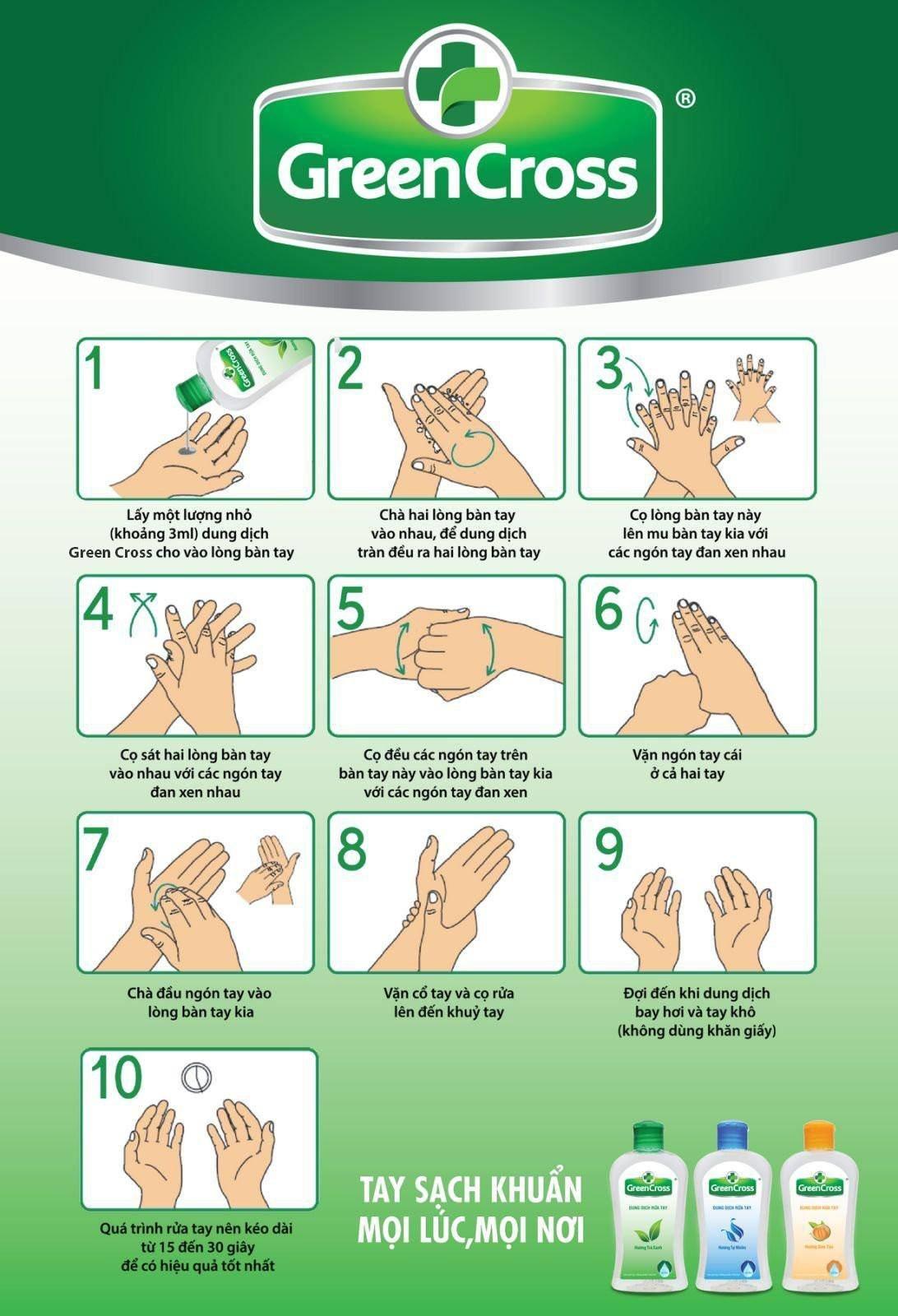 Hướng dẫn sử dụng nước rửa tay khô Green Cross